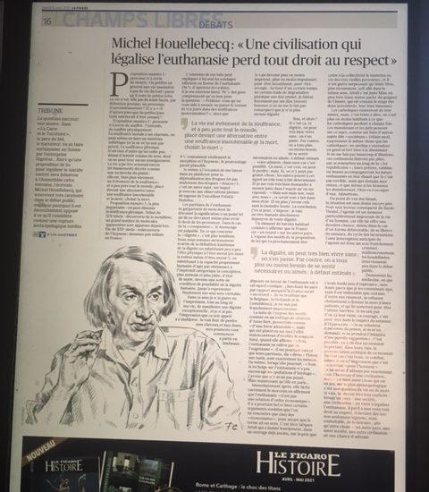 Euthanasie : ma réponse à Michel Houellebecq